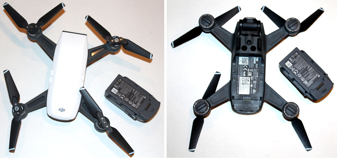 DJI Spark drone top and bottom