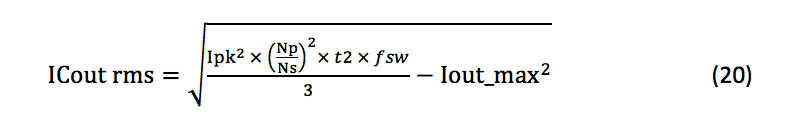 output capacitor RMS current equation