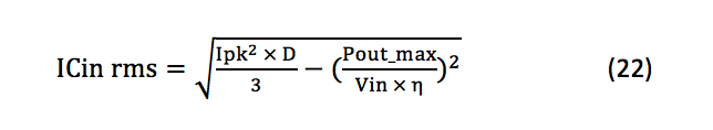 input capacitor's parameters equation 22