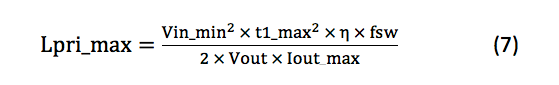 maximum required primary inductance equation