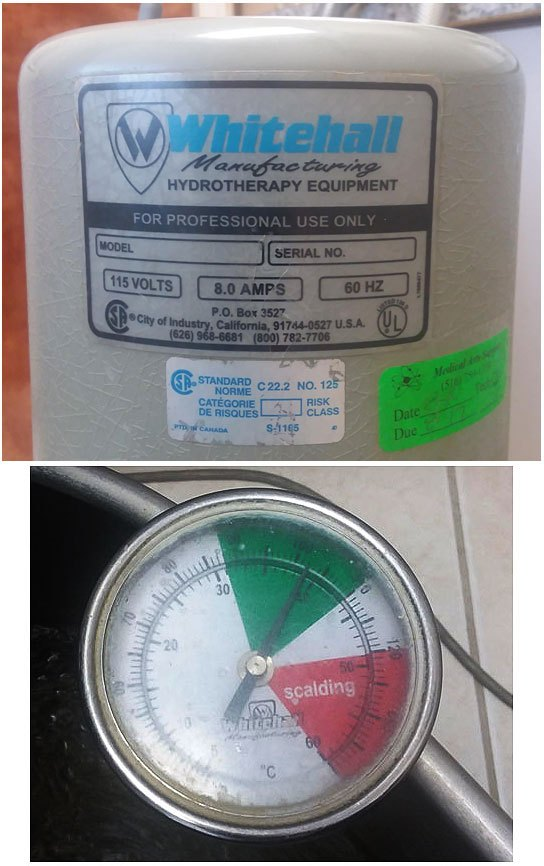 label of a hydrotherapy machine and its temperature meter