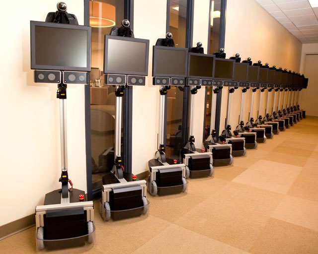 photo of a line of Texas Telepresence robots