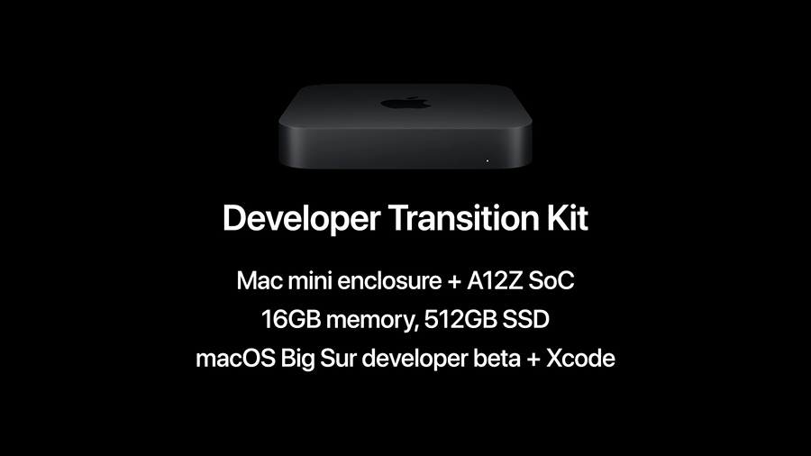 slide introducing the developer transition kit at Apple WWDC 2020