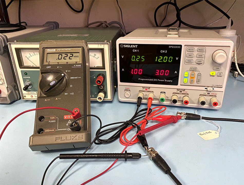 photo of the DC resistance test setup on the bench