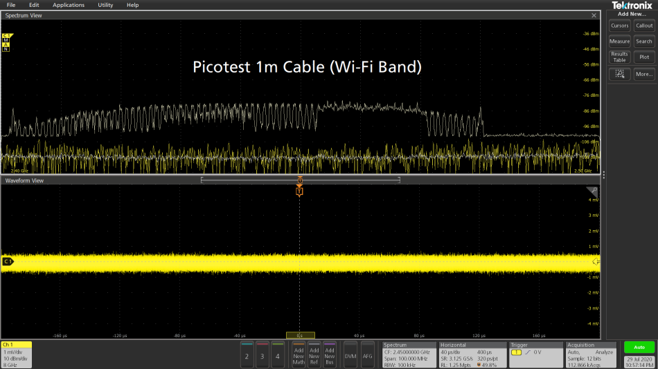 Tektronix oscilloscope screenshot with test results for the Picotest PDN cable