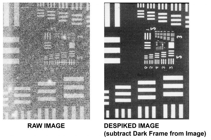 examples of raw and despiked images for comparison
