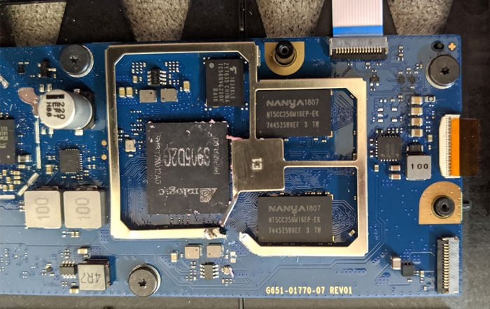 photo of the Google Home Hub PCB without the Faraday cages or thermal tape
