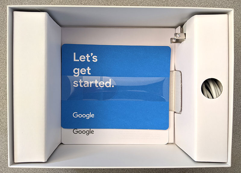 photo of the Google Home Hub packaging