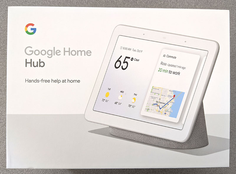 photo of the Google Home Hub box front