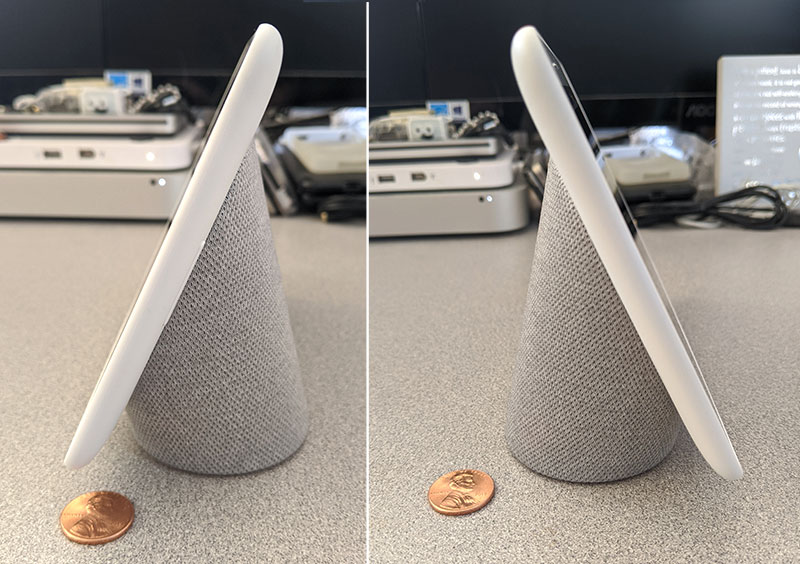 photos of the Google Home Hub's left and right sides with pennies for scale