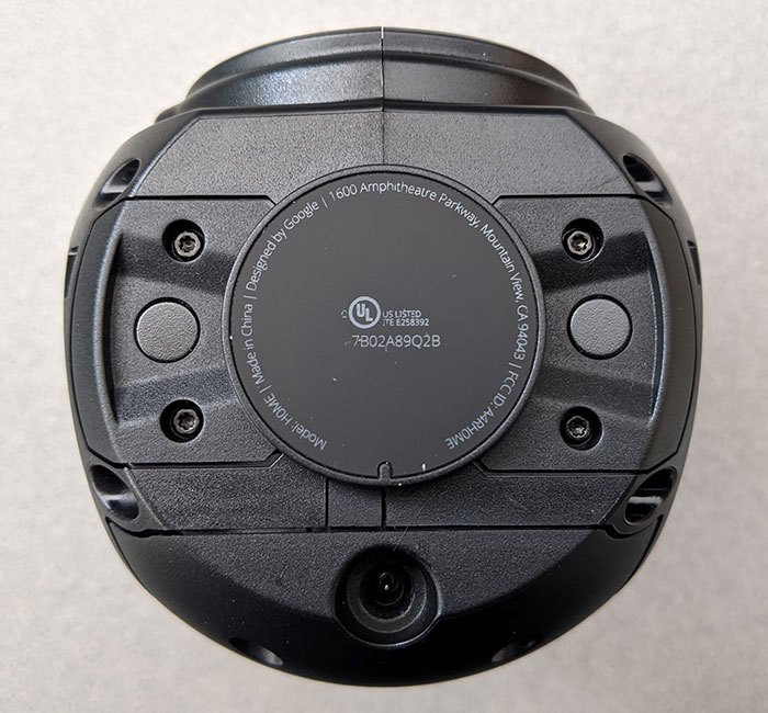 photo of the bottom of the Google Home smart speaker with the base removed