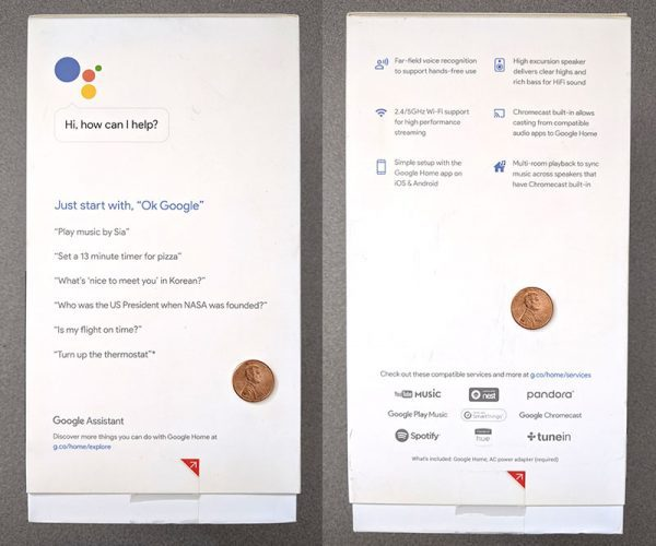 two photos of the sides of the Google Home smart speaker box with a penny for scale