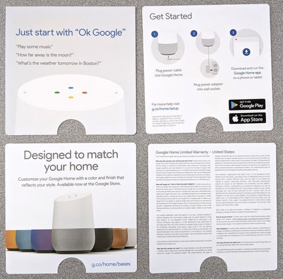 photo of four pages of Google Home smart speaker literature