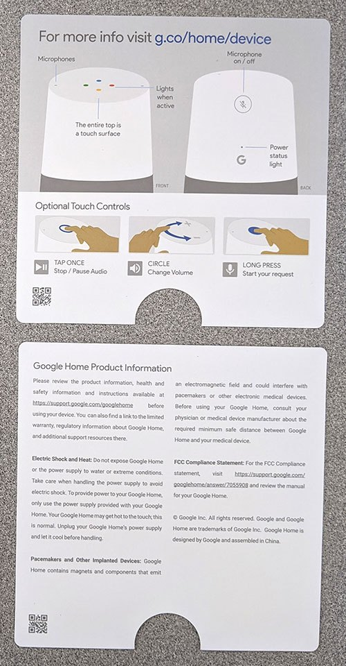 photo of two pages of Google Home smart speaker literature