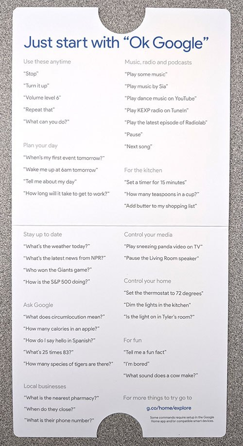 photo of Google Home smart speaker literature unfolded