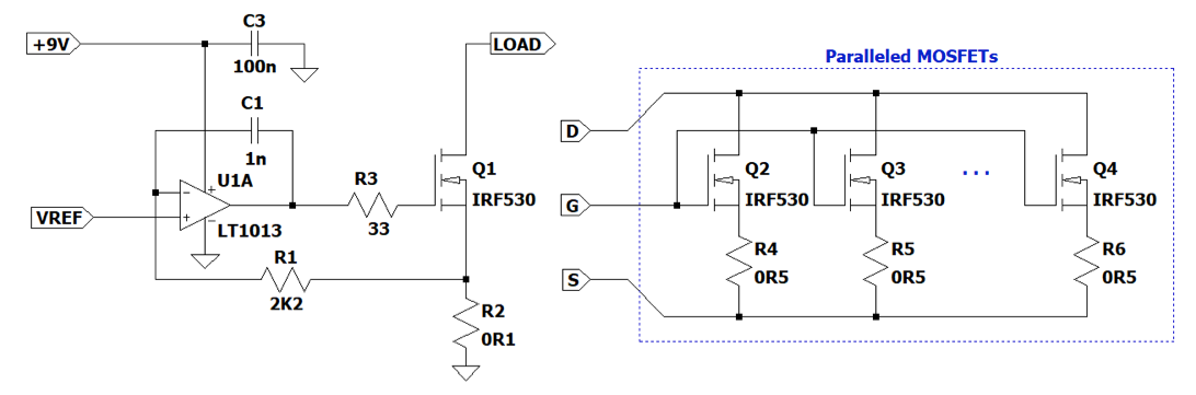 schematic diagram of a current load and paralleled MOSFETs