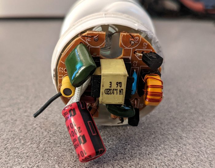 photo of the top of the CFL bulb PCB