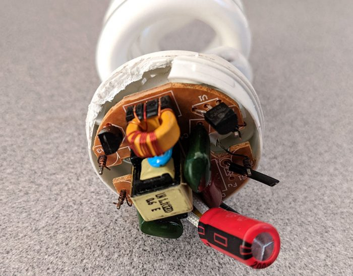 photo of the exposed CFL bulb PCB
