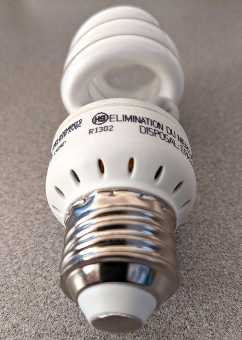 photo of a CFL bulb's bottom vents