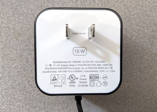 closeup photo of the Amazon Echo Dot AC adapter markings