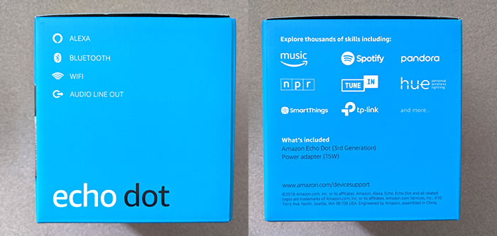 2 photos of the sides of the Amazon Echo Dot box