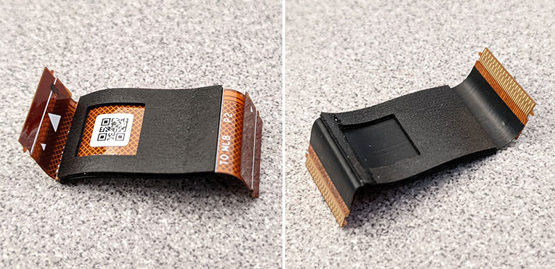 2 photos of the PCB flex cable front and back