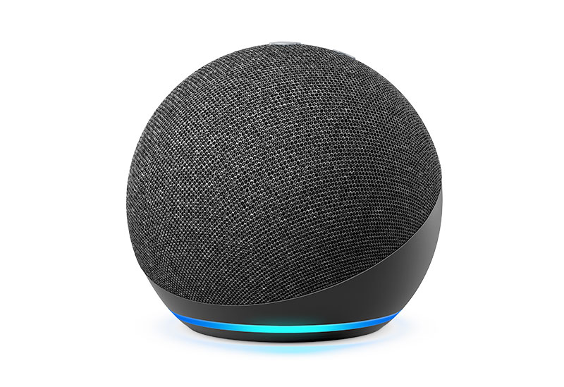 PR photo of the spherical Amazon Echo Dot fourth generation against a white background